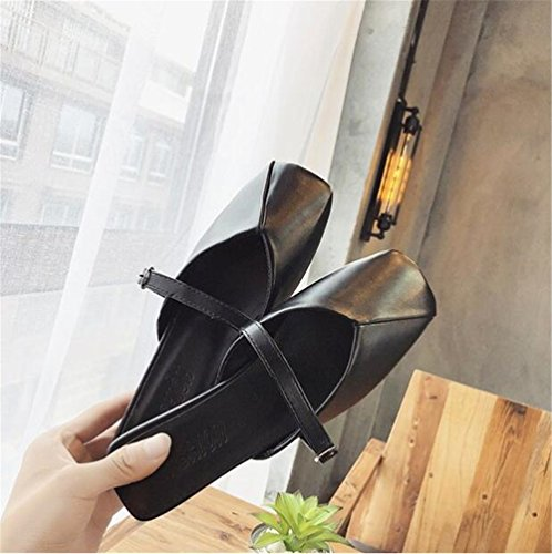 Women Mule Mule Work Slipper Flat On Business Dressy Slide Slip Black Loafer Casual AAgBnq4r5