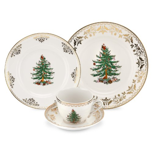 Christmas Place Settings (Spode Christmas Tree Gold 4-Piece Place)