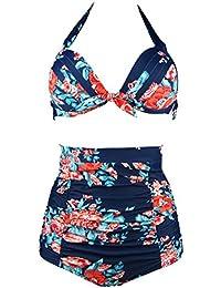 006f326256a Retro 50s Black Pink Blue Floral Halter High Waist Bikini Set Halter  Carnival Swimsuit(FBA
