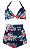 Cocoship Red Pink & Navy Blue Antigua Floral Halter High Waisted Two Piece Bikini Gorgeously dressed Vintage Bathing Suit L(FBA)