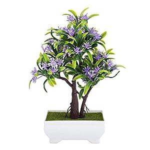 GLOGLOW Artificial Bonsai Flower Pot Fake Silk Flower Tree Plant for Wedding Holiday Home Decor 6