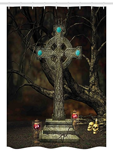 Ambesonne Gothic Stall Shower Curtain, Gothic Cross Tree Grave Skulls and Tombstone Lanterns Graveyard Night Art, Fabric Bathroom Decor Set with Hooks, 54 W x 78 L Inches, Olive Green Aqua ()