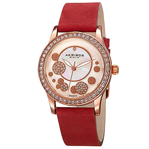 Crystal Red Strap Watch (Akribos XXIV Ornate Womens Casual Watch - Mother of Pearl Center Dial - Quartz Movement - Crystal Filled Bezel - Suede Leather Strap - Red)