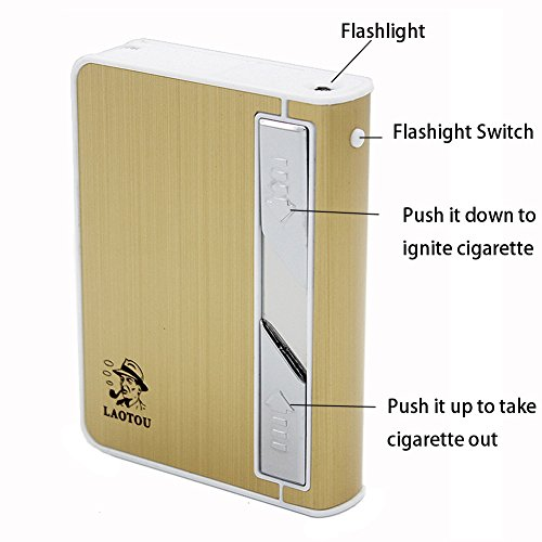 Cigarette Case Lighter,Moonwbak Multifunction Cigarette BOX Holder USB Electric Rechargeable Cigar Lighter,Push out Cigarette Holder with Electric Torch (Multifunction Lighter)