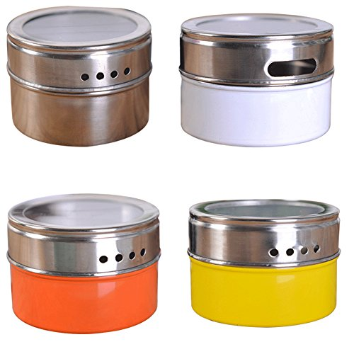 (6 Pack Stainless Steel Magnetic Multi-Purpose Spice Storage Tins diverse color Top Lid transparent Clear Top Lid with Sift or Pour Magnetic on Refrigerator and Grill (Silver))