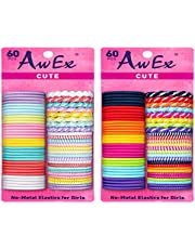 AwEx Colorful Hair Ties for Girls with Fine Hair,120 PCS, Small Loop,Multicolors and Multipatterns,Assorted in Brights and Pastels