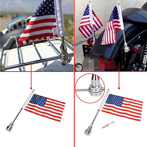 Pole Mount & 6x9 Flag American USA For Honda Goldwing CB VTX CBR Yamaha Harley Davidson Luggage Rack (Rack Flag Mount)