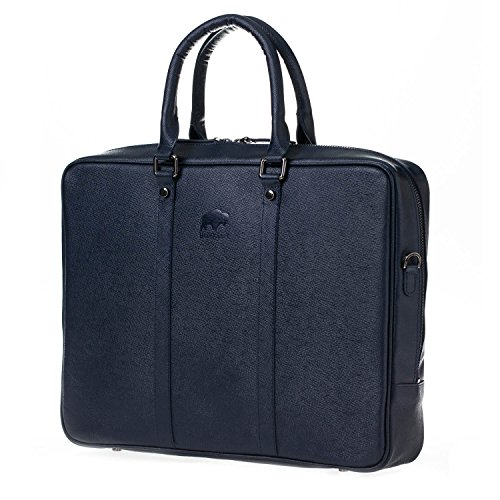 Laptop Load Top Leather (Burkley Case Genuine Top Grain Leather Briefcase with Soft Felt Interior | Luxury for Everyday Use and Professional Work Load (SAFFIANO NAVY BLUE))