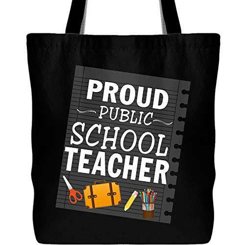 Proud Public School Teacher Tote Bag with Long Shoulder Strap, I Am A Teacher Canvas Tote Bags(Tote Bags - Black) -