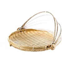 AMEOYYN Hand-Woven Food Serving Tent Basket, Bamboo Round Food Cover Basket Hand-Woven Dust Proof Picnic Vegetable Bread…