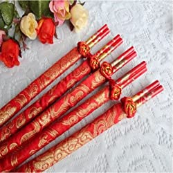 "50 PAIRS 9.45"" Chopsticks Gift Set, Wedding Favors Chinese Chopsticks Dragon-Phoenix Double-happiness, Wedding Gift Dinner Set,"