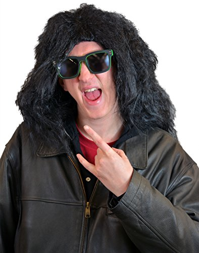 (HDE Men's Rock Star Wig Glam 80's Rocker Drummer Black Hair Halloween Costume Cosplay)