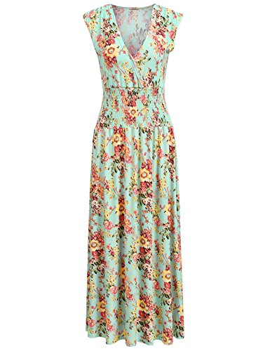 ACEVOG Women Floral V Neck Sleeveless Print Maxi Long Dress