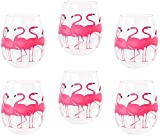 DEI Flamingo Tropical Stemless Shatter-Resistant Wine Glass, 18 Ounce, Set of 6