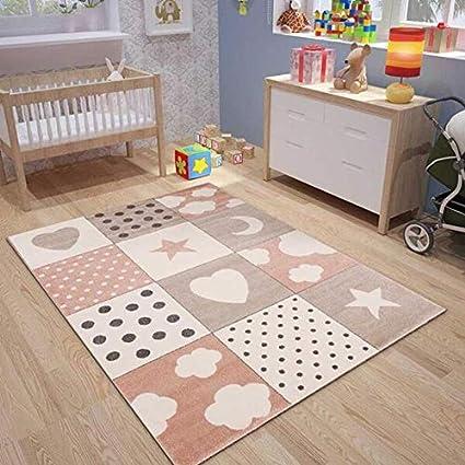 Kinderteppiche Patchwork Herz Sterne Wolke Kinderteppich Fur Madchen Und Jungs Teppich Fur Kinderzimmer Farbe Blau Grau Rosa