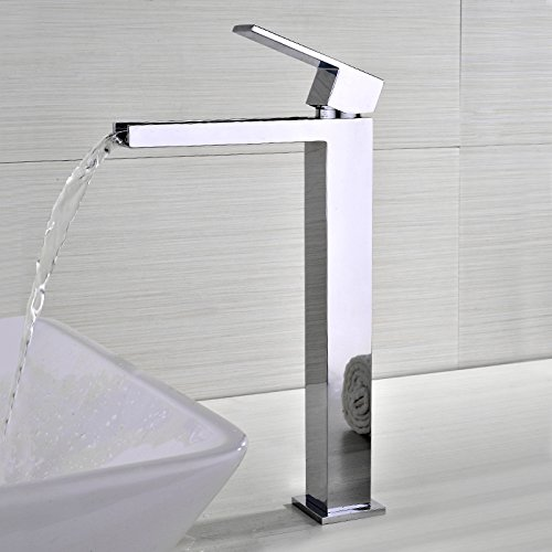JiuZhuo - Rubinetto a cascata per lavabo da appoggio senza foro, applicazione su mensola, miscelatore alto con leva monocomando