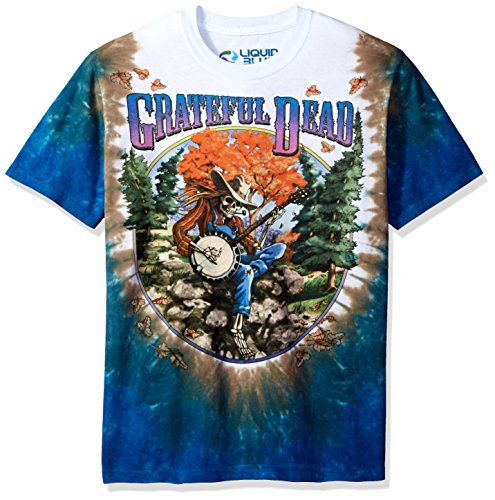 Dead Grateful Tie Dye - Liquid Blue Men's Plus Size Grateful Dead Banjo Tie Dye Short Sleeve T-Shirt, Multi, Small