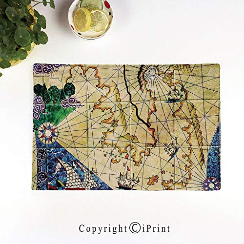 LIFEDZYLJH Heat-Resistant Placemats,Stain Resistant Anti-Skid Washable Table Mats Woven Vinyl Placemats,Old Nautical Chart Ancient Map with Historical Territories Geographical Illustration,Beige Navy
