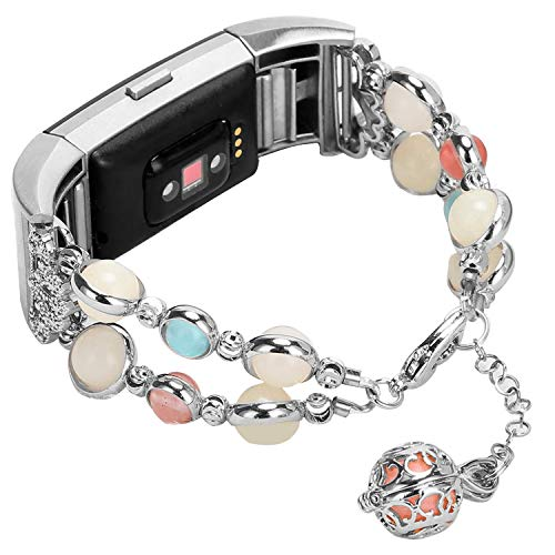 Imymax for Fitbit Charge 2 Bands Bracelet Adjustable Wristband Handmade Night Luminous Pearl Charge 2 Bracelet with Essential Oil/Perfume Storage Pendant for Women/Girls (Silver) from IMYMAX