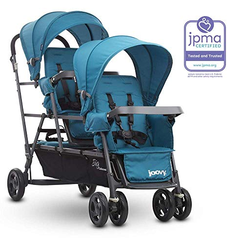 Joovy Big Caboose Graphite Stand On Triple Stroller Turq