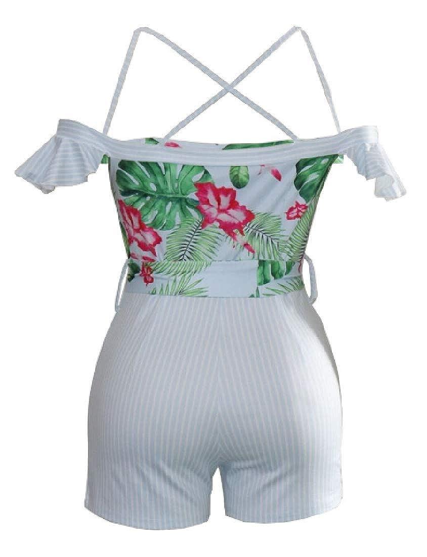 Hokny TD Womens Beachwear Jumpsuit Ruffle Back Criss Cross Short Romper