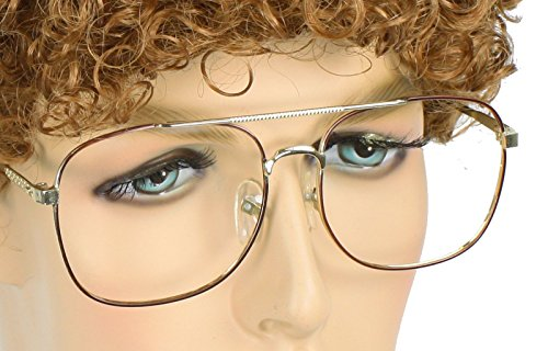 Men's Sweet Nerd Geek Costume Glasses Gold with No Lenses (One Size) (Geek Costume)