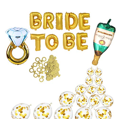 Bachelorette Party Decorations Bridal Shower Kit - Party Supplies Kit includeDiamond Ring and Bride to Be Foil Balloon,Champagne Bottle Foil Balloon,Engagement Large Confetti Gold Balloons(10 pcs) ()