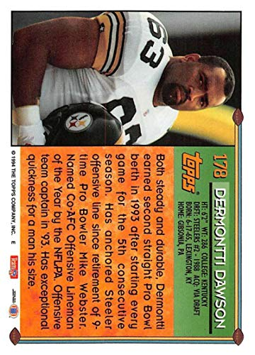 9e1ea363a Amazon.com  1994 Topps Football Card  178 Dermontti Dawson Pittsburgh  Steelers Official NFL Trading Card  Collectibles   Fine Art