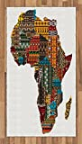 Lunarable African Area Rug, Africa Map with Countries Made of Architectural Feature Popular Ancient Continent, Flat Woven Accent Rug for Living Room Bedroom Dining Room, 2.6 x 5 FT, Multicolor