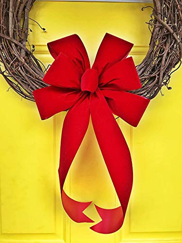 (Hand-Tied Red Velvet Christmas Wreath Bow, 10 inch by 16 inch, 6 Loop with Button)