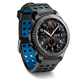 Moretek 22mm Quick Release Watch Bands for Any Ttraditional LG G Watch W100/W110, Garmin Vivomove, Huawei Watch 2 Classic Smart Watch (eliminate stink) (Black+Blue)