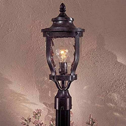 Minka Great Outdoors 8766-166 Merrimack - One Light Outdoor Post Mount, Corona Bronze Finish with Clear Hammered Glass