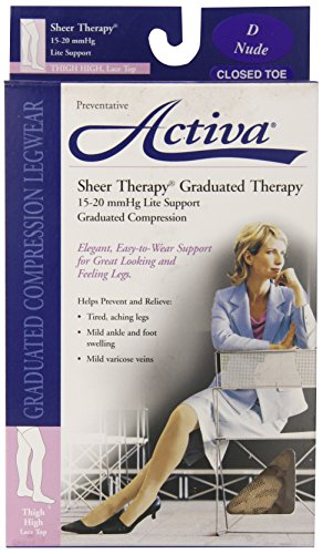 Activa Sheer Therapy 15-20 mmHg Thigh High Closed Toe with Lace Top Stockings, Nude, Size D