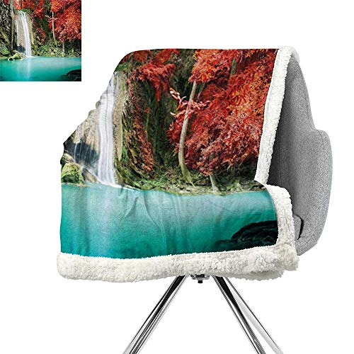 ScottDecor Waterfall Lightweight Microfiber Blankets,Nature Single Waterfall in Corner of The Deep Forest with Fair Fall Oak Trees,Red and Blue,Bed Cover W59xL78.7 Inch -