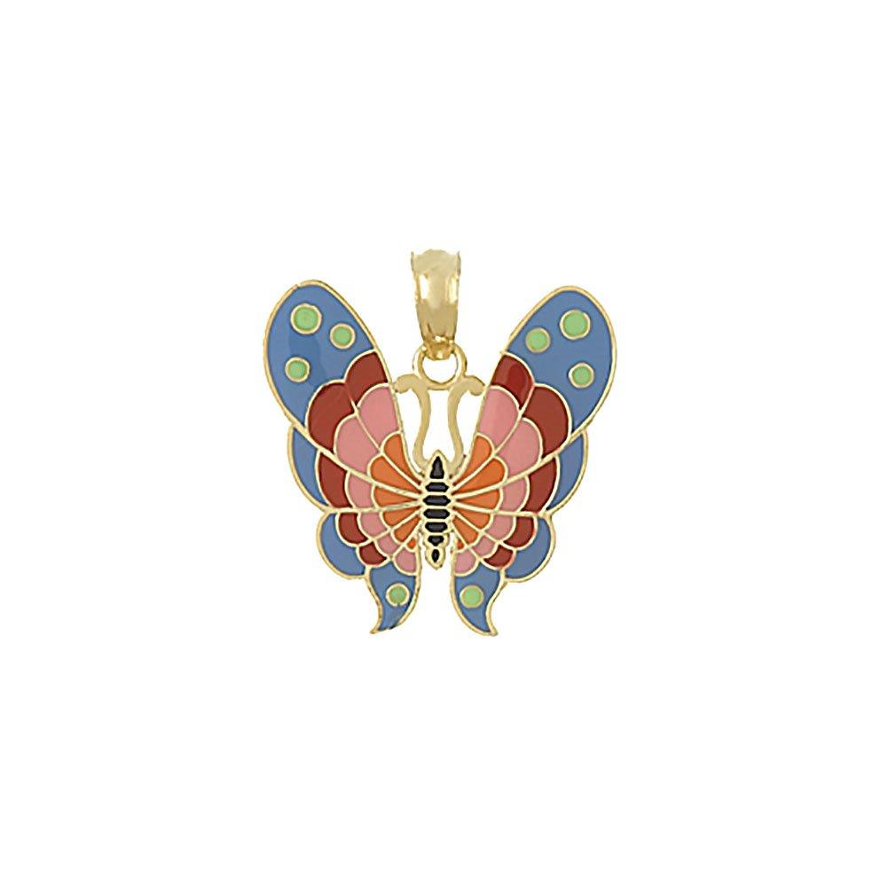 14k Yellow Gold Enamel Pink Butterfly Pendant