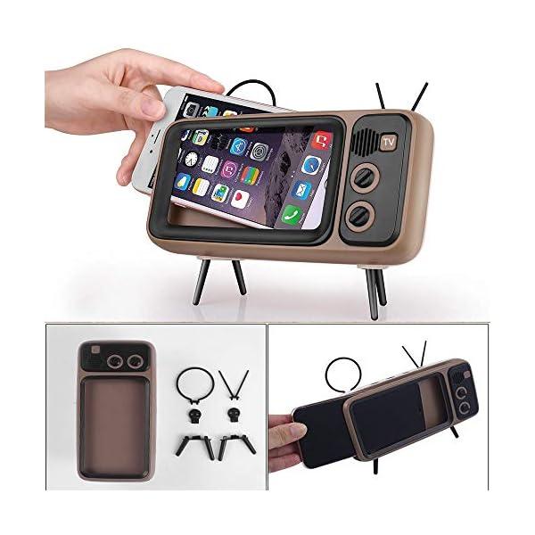 Enceinte Portable Rétro Bluetooth,TV Support de téléphone Portable Haut-Parleur,AUX FM Bluetooth en Option, qualité sonore stéréo 3D 1
