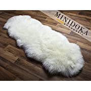 Double Pelt, New Zealand Premium Sheepskin, Ivory Rug, 6.25 ft x 2.25 ft, Thick Soft Luxurious Natural Wool, by Minidoka Sheepskin