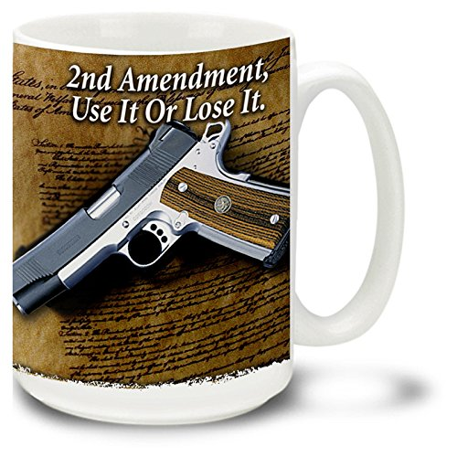 Cuppa Second Amendment Rights 15-Ounce Coffee Mug with 2nd Amendment Document and 1911