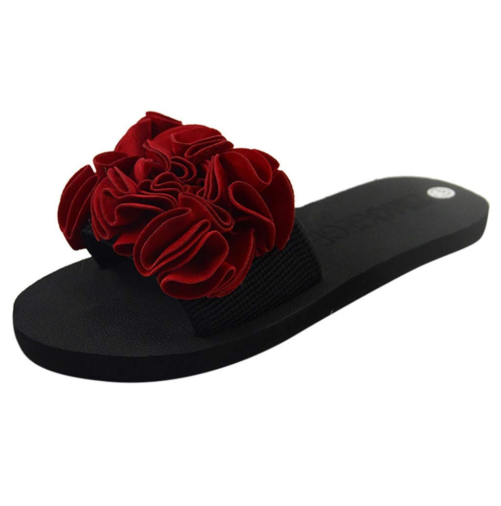 Women Shoes, JHKUNO Bohemian Retro Flower Slippers High Heels Wedge Platform Sandal Summer Non-Slip Beach Flat Slippers Red
