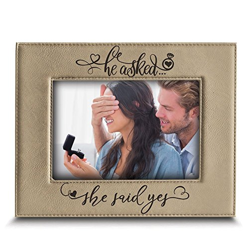 BELLA BUSTA- He Asked. She Said YES- Engagement Leather Photo Frame (4