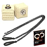 Pair of Pro Chain Cathedral Fire Poi Medium and DVD: Intermediate to Advanced - Black Chain, M - 25 inch (63cm)