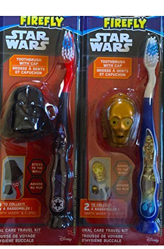 Children's Oral Care Travel Kit Star Wars Themed Toothbrushes Pack of 2 (Light Up Sound Light Sabers)