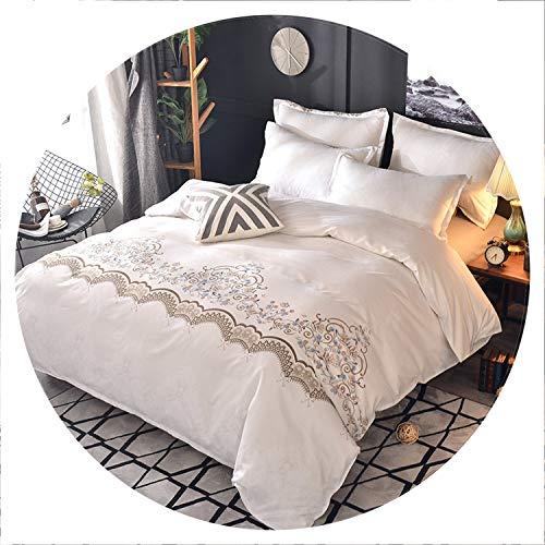 2/3Pcs Luxury lace Euro Classic Flower Duvet Cover Set European-Style Bedding Set Comforter Duvet Sets Pillowcase US/EU Size,White,EUD 200x200cm]()