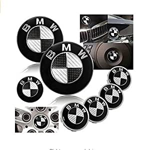 7 bmw black carbon fiber emblem logo badge set 82mm 74mm 45mm 68mm hood trunk steering 4 x. Black Bedroom Furniture Sets. Home Design Ideas