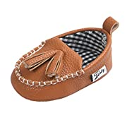 Vanbuy Baby Soft Sole PU Leather Tassels Shoes Boys Girls Anti Slip Loafers Shoes Babies Moccasins WB05-Brown-S
