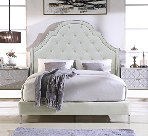 (Chic Home Napoleon Bed Frame with Wingback Headboard Velvet Upholstered Button Tufted Silver Nail Head Trim Stainless Steel Metal Legs, Modern Transitional, King, Cream White)