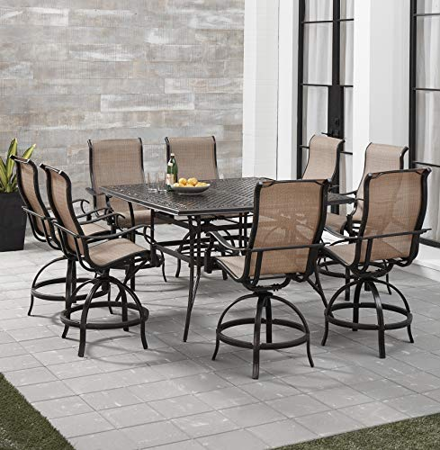 Hanover MANDN9PCSQ-BR Manor 9-Piece Counter-Height Dining Set with 8 Sling Swivel Chairs Outdoor Furniture, Tan Counter Height Nine Piece