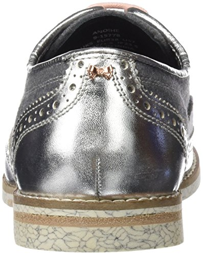 Anoihe Lace Baker Women's Ted Silver Blk up Shoes Silver qgZvt