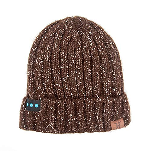 TLMYDD Stylish Winter Bluetooth Knitted Wool Hat is Soft and Comfortable Bluetooth Earphone (Color : Brown)
