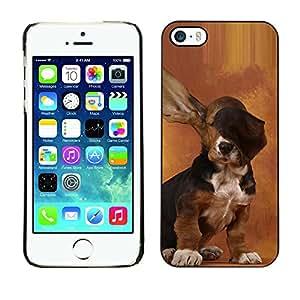 TopCaseStore / la caja del caucho duro de la cubierta de protección de la piel - Dog Long Ears Basset Hound Brown Puppy - Apple iPhone 5 / 5S